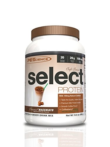 PEScience Select Cafe Protein, Caramel Macchiato, 20 Servings, Coffee Flavored Whey and Casein Blend