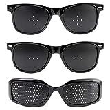 ピンホールメガネ 視力回復 (3種類セット) 視力回復メガネ 【 近視 乱視 老眼 目の疲れ などのお悩みの方に! 視力回復トレーニング メガネ 】 (安心のHi State Clear製) ピンホール眼鏡 (眼精疲労 軽減効果!) 視力矯正メガネ 目の疲れ 目が良くなるメガネ 乱視矯正メガネ 【Hi State Clear】