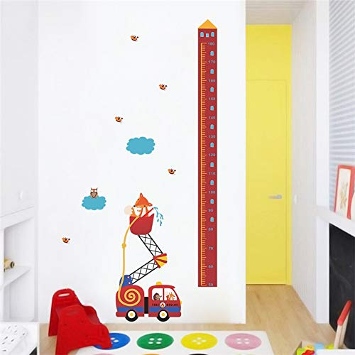 W-L Hibou Mignon Fox and Fire Engine Croissance Graphique Stickers Muraux Chambre Home Décor Cartoon TOISES Stickers muraux Toises