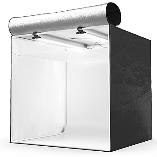 HAVOX - Fotostudio HPB-80D - Maße 80x80x80cm - Dimmbare LED-Beleuchtung Tageslicht 5500k - 13,000 Lumen - CRI 93 - Machen Sie Ihre kommerziellen Fotos zu E-Commerce