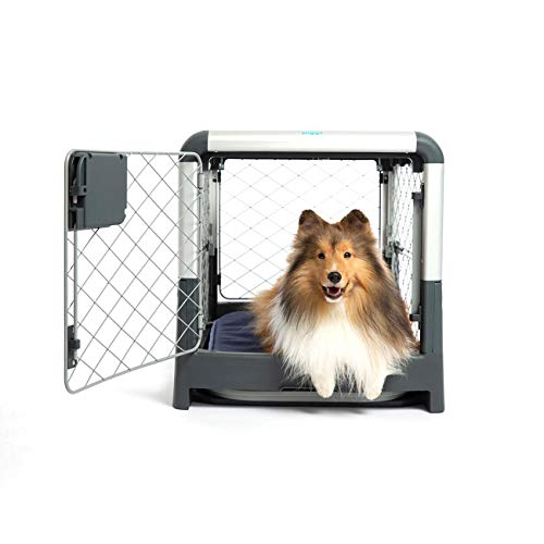 JESPET Soft Dog Crates Kennel for Pets, 3 Door Soft Sided Folding Travel Pet Carrier with Straps and Fleece Mat for Dogs, Cats, Rabbits, Grey Blue & Beige (36