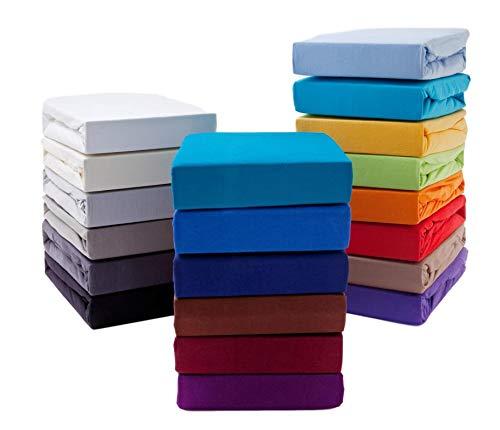 Hometex Premium Textiles Spannbettlaken Spannbetttuch bis 23 cm Steghöhe | Bettlaken Jersey aus 100% Baumwolle | 180-200x200 cm Flieder | ÖKO-TEX Standard | Viele Größen und Farben erhältlich
