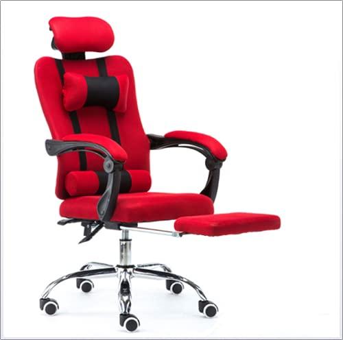 Silla de oficina con reposacabezas, silla de oficina de malla gris con reposapiés Reposacabezas ajustable altura cómoda silla de videojuegos para mujer, color rojo