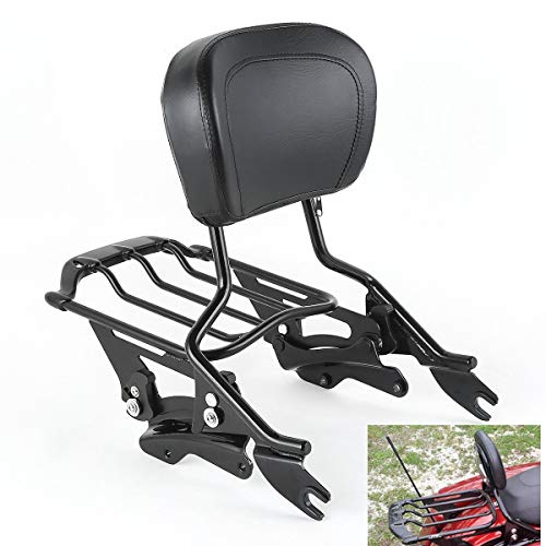 TCMT Detachable Passenger Backrest Sissy Bar With 2 Up Air Wing Luggage Rack 4 Point Docking Hardware Kits Fits For Harley Touring 2014-2020 (Black, Style D)