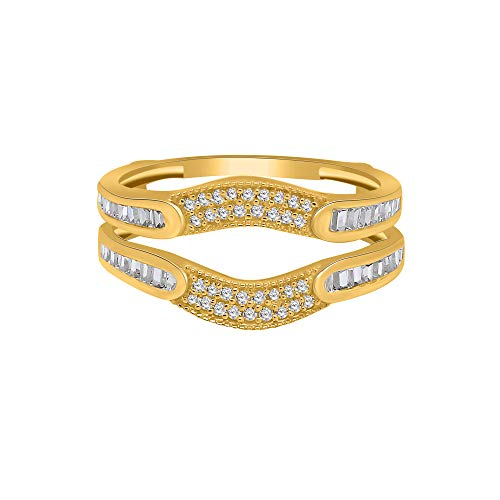 omega jewellery 0.40ct Round & Baguette Real Diamond Wraps & Enhancers Wedding Engagement Rings Guard in 14k Yellow Gold Over