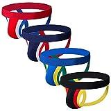 KAMUON Men's Cotton Jockstrap Elastic Athletic Supporter Jock Straps Underwear (US M = Asian Tag XL : Waist 33'-35', 4 Pack-Style #4)