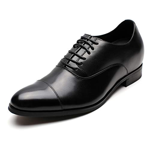 CHAMARIPA Men's Invisible Height Increasing Elevator Shoes-Black Formal Oxford Tuxedo Dress Shoes Genuine Leather-2.76 Inches Taller X92H38-1 (11 D(M) US,Black)