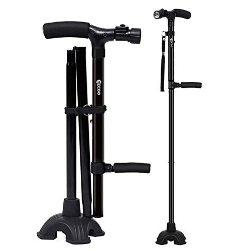 Medical Convenient TwoHandle Walking Cane Lightweight Walking Stick with Adjustable LED Lights and Stable Quad Cane Base