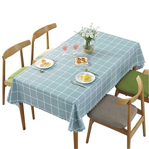 Hunterace PVC Vinilo Mantel Mantel Raya de lino Encaje Rectangular Cubierta de la mesa Para la cocina Limpie la cubierta de la mesa de plástico limpio (135 * 180 cm) -1