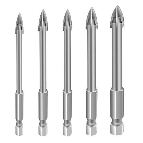 Drill Bit Set,Glass & Tile Drill Bit Set,Installer Drill Bit Set for Glass Ceramic Soft Tile Wood Plastic ,6mm 8mm 8mm 10mm 12mm (5PCS)