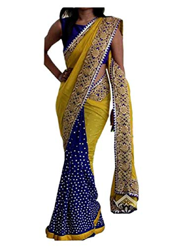 Indian Trends Exclusive Designer Blue and Yellow Grorgette Bollywood Replica Saree