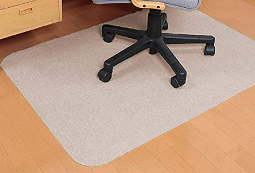 Alfombrilla para silla de oficina, 90 x 140 cm, antideslizante para silla de ordenador, reducción de ruido, para oficina en casa (59 x 44 cm), color beige