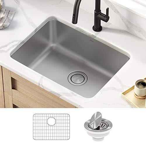 Kraus KA1US25B Dex 25-inch Undermount 16 Gauge Antibacterial Stainless Steel Single Bowl Kitchen Sink