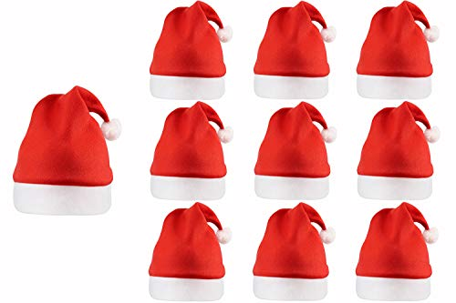 QBSM Bulk Christmas Santa Hats Bells for Adults, Classic Red Xmas Holiday Hats for Party Costume