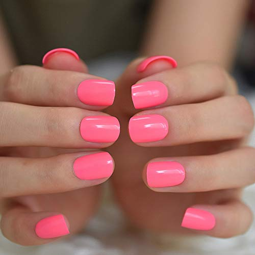 Neon Short Nails Summer Color Fake Nails Deep Pink Ladies Bright Color Designed ABS Material Fingernails with Adhesive Tabs