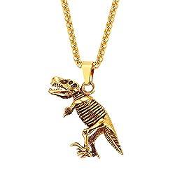 3. U7 Dinosaur Fossil Gold Plated Pendant