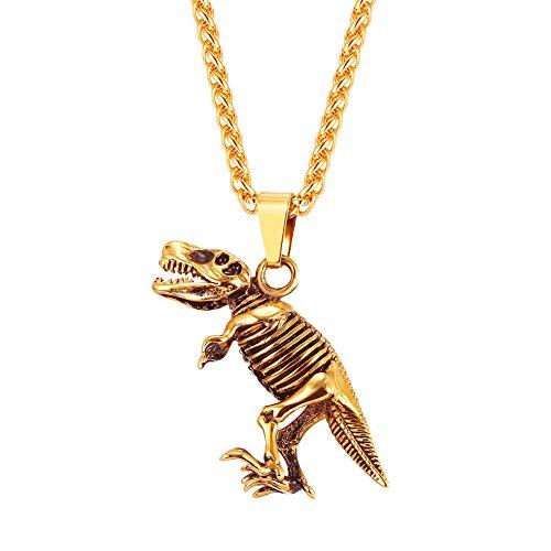 U7 Edelstahl Tyrannosaurus Rex Anhänger Halskette 18k vergoldet T-Rex Dinosaurier Kettenanhänger mit Kette Cool Biker Hip Hop Rapper Schmuck