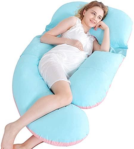 EIERFSKIOT sleep confort almohada almohada embarazada dormir Almohada de maternidad de cuerpo completo en forma de U Almohada de embarazo de cuerpo completo desmontable para dormir de lado y aliviar e