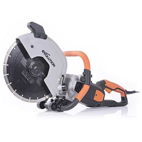 Evolution R300DCT - 12 in Concrete Saw (Aka Circular Saw, Angle Grinder, Chop Saw, Cut Off Saw, Demo Saw, Disc Cutter, Power Cutter) - 15A Motor, No Gas - 4-1/2 in Cut - Incl Diamond Masonry Blade
