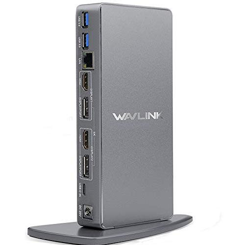 WAVLINK USB C Universal Laptop Docking Station, Dual 4K@60Hz Display & 5K Single Video Display for Laptop and PCs (2x4K@60Hz HDMI, 2x 4K@60Hz Display Port, Gigabit Ethernet, 6 USB 3.0, Audio)
