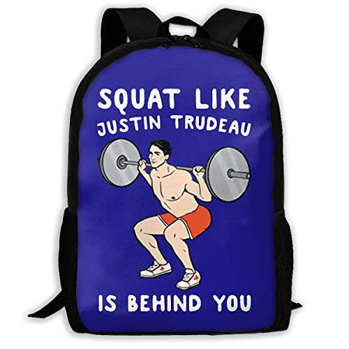 Squat Like Justin Trudeau Is Behind You Printed School Backpack Water Resistant Travel Rucksack Bag Laptop Lightweight Backpack Daypack,17' Zaino scuola