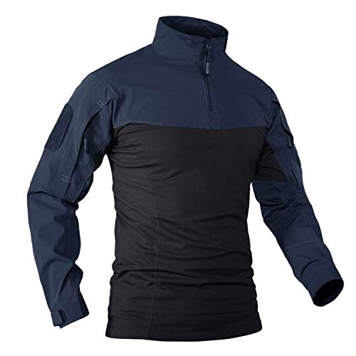 KEFITEVD Tactical Shirt Homme Pull de Chasse avec Poches Manches Tactique Sweatshirt Militaire Chemise Hommes Armée Vêtements Trekking Top Bleu Foncé/Noir XL