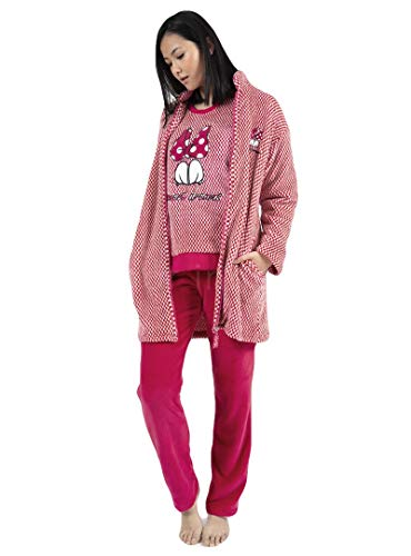 Disney Pijama Manga Larga Calentito Love Mouse para Mujer, Color Burdeos, Talla M