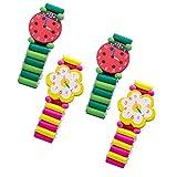 YeahiBaby 4pcs Montres en Bois Jouet Bracelet Artisanat pour Petits Enfants (Styles Aléatoires et Couleurs)