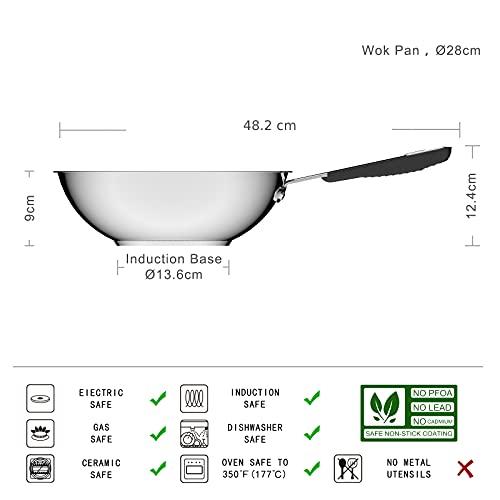 Amazon Basics Sartén Wok Antiadherente de Inducción - Acero Inoxidable, con Mango Suave al Tacto - 28 cm