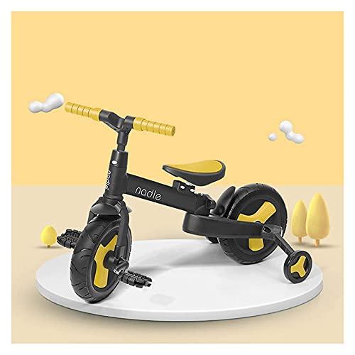 LINQ 5 en 1 Trike - Scooter de Equilibrio propulsado a Mano, Pliegue en un Segundo, cómodo Amortiguador, Amarillo (Color : Yellow)