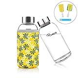 Ryaco Trinkflasche Glasflasche Classic Tragbare 360ml BPA-frei für unterwegs Sportflasche Glas...
