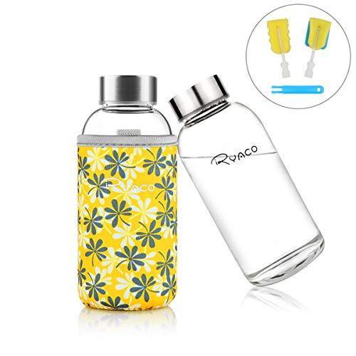 Ryaco Trinkflasche Glasflasche Classic Tragbare 360ml BPA-frei für unterwegs Sportflasche Glas Wasserflasche zum Mitnehmen von kalten Heiß Getränken mit Neopren Tasche und Schwammbürste