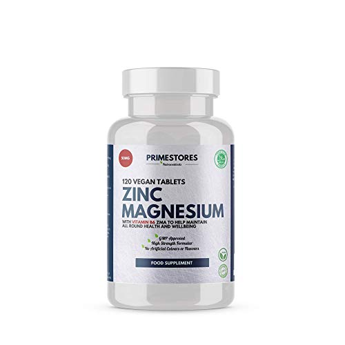Zinc Magnesium with Vitamin B6 ZMA - 120 Organic Vegan Tablets - High Strength Halal Hair Skin Nail Supplements by Primestores