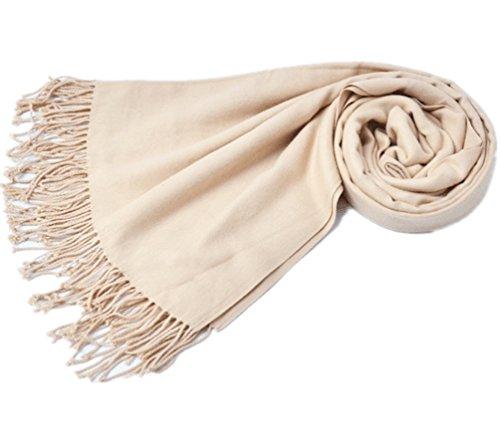 Schal Damen Lang Pure Farbe Nachahmung Kaschmir Halstücher mit Quaste Stolen Umschlagtücher Schal Warmes Halstuch Frühling Herbst Winter Beige