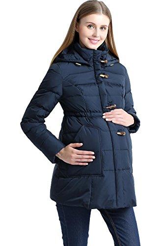 Momo Maternity Outerwear Women's Marlo Hooded Toggle Down Parka Coat Pregnancy Winter Jacket Navy Small