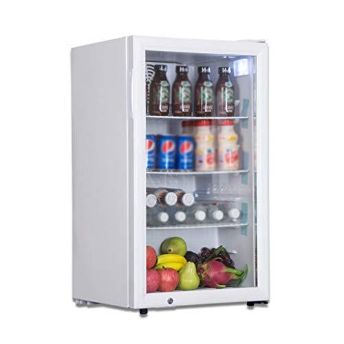 YX Mini Fridge Refrigerador y Enfriador de Bebidas - Mini refrigerador con Puerta de Vidrio para refrescos o Vino - Máquina dispensadora de Bebidas pequeña para Oficina o Bar con estantes extraíbles