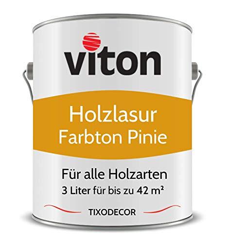 3 Liter Holzlasur von Viton - Farbe Pinie - 3in1 Seidenmatt - Holzschutzlasur, Lasur für Holz - Extra starker Schutz für Innen und Außen - Wetterfest, Atmungsaktiv & UV-beständig - Tixodecor