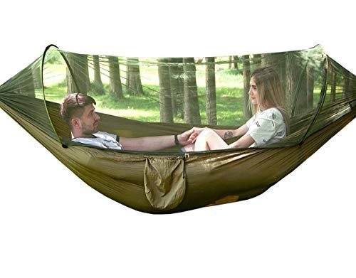 Camping Hängematte mit Moskitonetz, Uong 1-2 Personen Tragbare Leichte Pop-Up Fallschirm Hängematten für Outdoor Backpacking oder Camping, Reisen, Strand (250*120cm/Armeegrün)