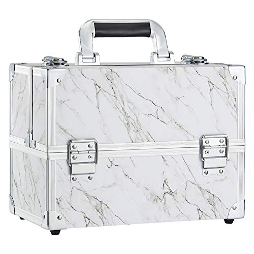 Frenessa Marble Leather Makeup Train Case 12 inch Large Portable Cosmetic Case - 6 Tier Trays with Stain-Proof Films Jewelry Storage Organizer Box Make Up Carrier Marble