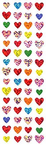 【10枚セット】ハートシール 4列カラフル ホロ BPMS714【ご注文1回につき1個 サン・クロレラ サンプルプレゼント!】