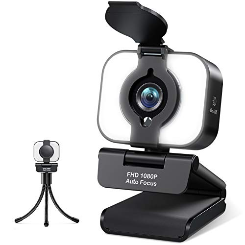 Webcam 1080P Full HD mit Mikrofon, MELCAM USB Web Kamera für PC Mac Laptop, Facecam Autofokus für Live-Streaming, mit Ringlicht Stativ Abdeckung, Kompatibel mit Zoom Skype YouTube Windows