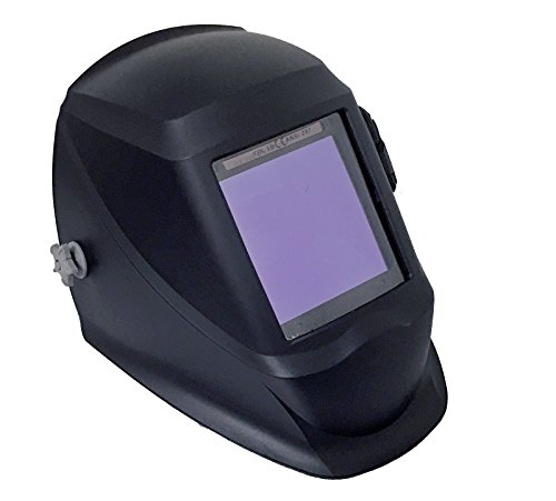 "Instapark ADF Series GX990T Solar Powered Auto Darkening Welding Helmet with 4 Optical Sensors, 3.94"" X 3.86"" Viewing Area and Adjustable Shade Range #5 - #13 Glossy Black"
