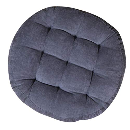 N / A Soft Cotton Linen Cushion Seat, Thickened Big Tatami Floor Cushion for Yoga Meditation Meals from Home Blanket Headquarters Band Cushion Chair,Gray,diamètre55cm (22inch)