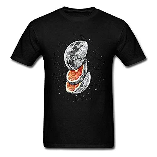 Lunar Fruit T Shirt Whimsical Men Clothing 3D Moon Printed Tops Lemon Grapefruit Tees Cotton Tshirt Black T-Shirt Black M