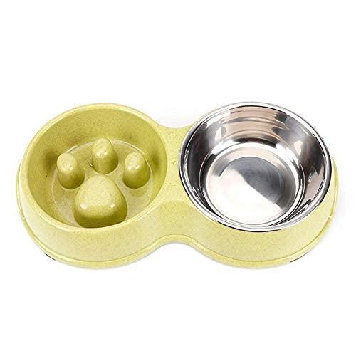 Cat bowl dog bowl, anti-overturning slow food anti-choking stainless steel double bowl, non-slip dog bowl water bowl pet food utensils