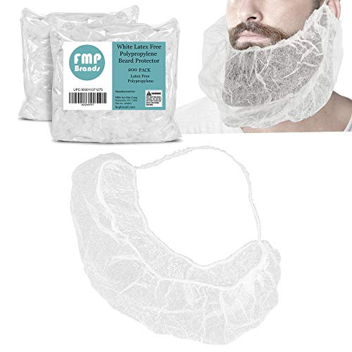 [200 Pack] White Beard Net - Disposable Mustache Protector for Men Women, Latex Free Hair Cover Guard Use in Food Service, Cooking Preparation, Kitchen Safety, Restaurant, Hospital and Store