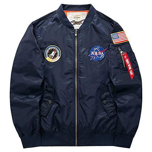 ANLW Herren Jacke NASA Space Badge Stickerei Logo Flight Bomber Jacket Windbreaker Winddichter Langarmmantel,Darkblue,XL