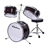 TKI-S Junior Drum Kit Set 3 Drums 1 Enlightenment Drums 3 Piece Complete Child and Youth Set - Kids Beginner Set Adjustable Throne, Cymbals, Pedals and Drumsticks 13' Drumhead - red