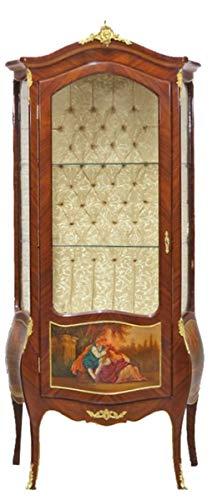 Casa Padrino Barock Vitrine Model Mahagoni Braun/Gold H 190 cm, B 85 cm - Vitrinenschrank - Wohnzimmerschrank