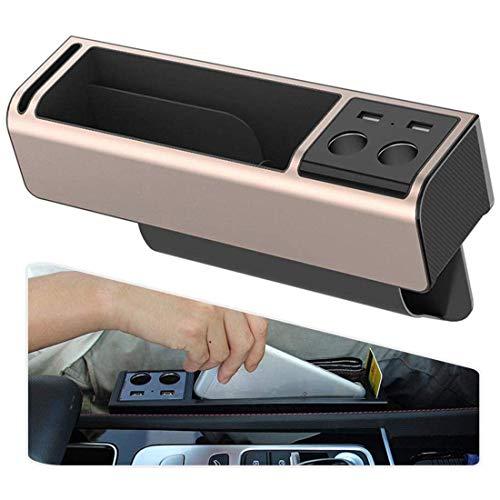 Rzj-njw Autostoel Zijvak Gap Organizer Auto Console Seat Crevice Opbergdoos Dubbele USB Opladen Hub Twee Stukken